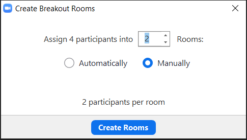 Breakout room pop up.  Manually assign clicked