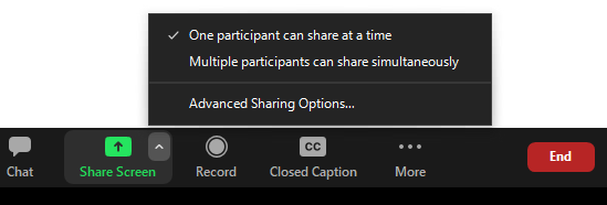 Share screen button, located in the bottom toolbar (also known as the in-meeting toolbar) between, for the host, the Chat and Record buttons.  The caret icon is located in the upper right hand corner.  Advanced sharing options is the lowest option in the drop down menu.