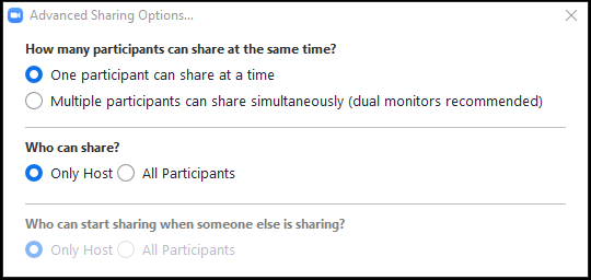 Advance sharing options window.  The first option will allow the host to determine how many participants can share at one time.  The second option describes who can share.  If All participants is selected for the second option, the third option becomes available. The third option us used to allow others to start sharing when someone else is sharing.