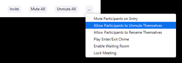 The in-meeting Zoom participants setting drop down.  The ellipsis is located to the right of the Un-mute all button.
