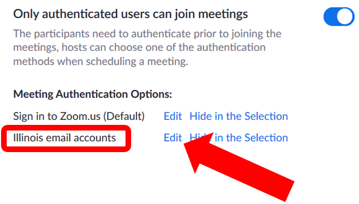 Meeting authentication options: Illinois email accounts