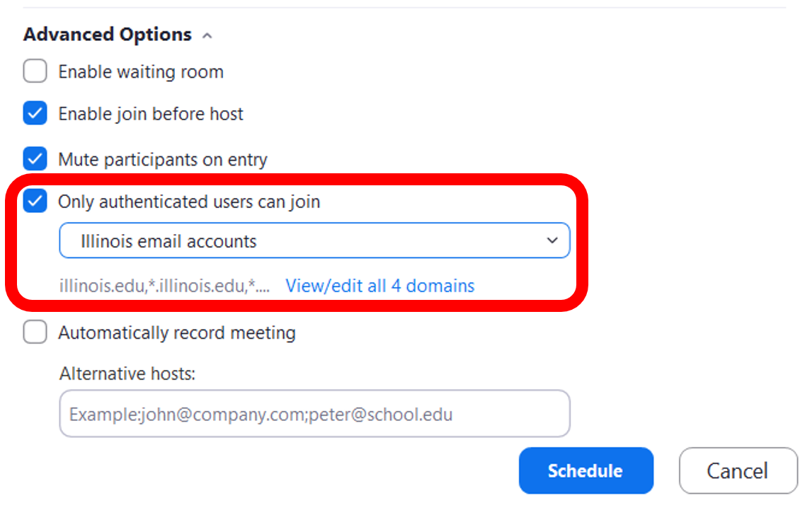 """Only authenticated users"" setting listed in Advanced meeting settings"