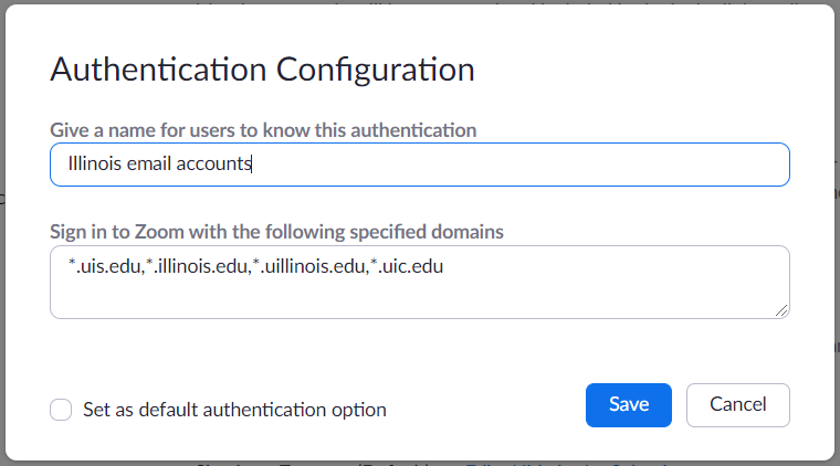 Authentication configuration: Illinois email accounts edit window
