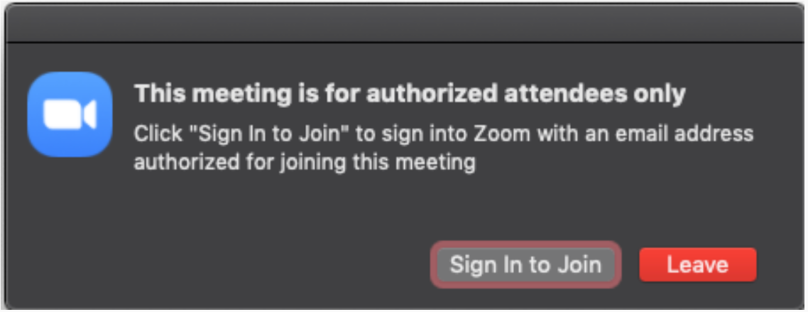 In meeting notice to log into Zoom.us