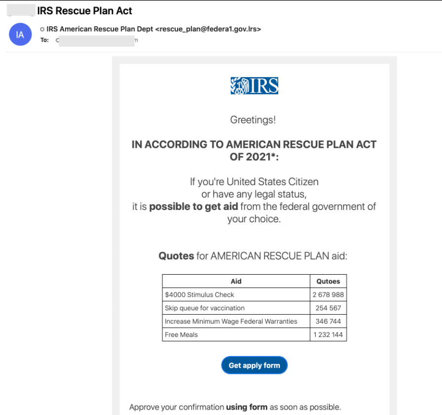 Phishing email from IRS Rescue Plan Act