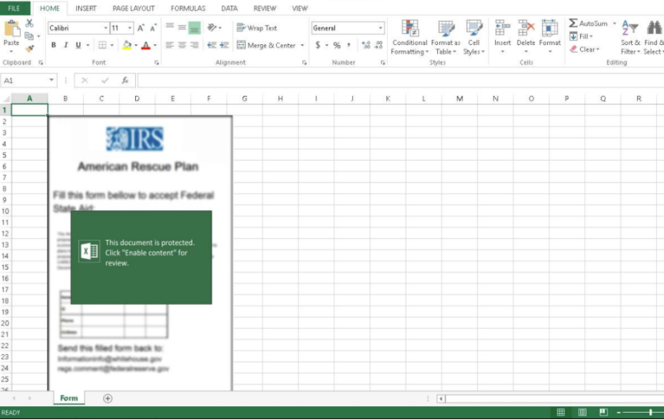 Phishing Excel file that asks you to enable content