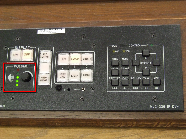 audio control on left side of push-button control panel