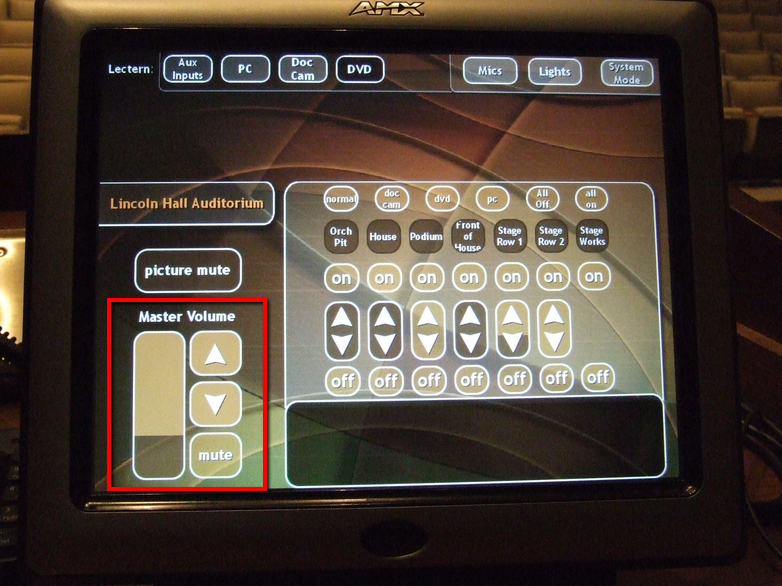 Touchpanel volume control on left side under picture mute