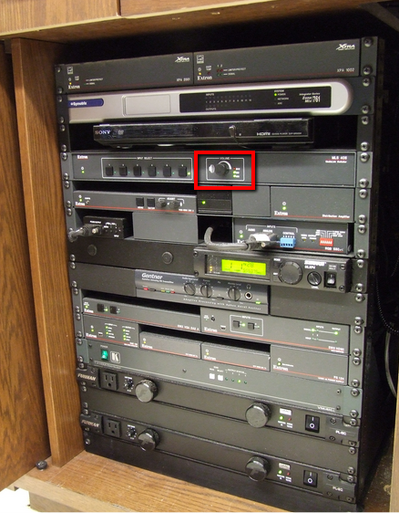 Amplifier volume control in AV rack
