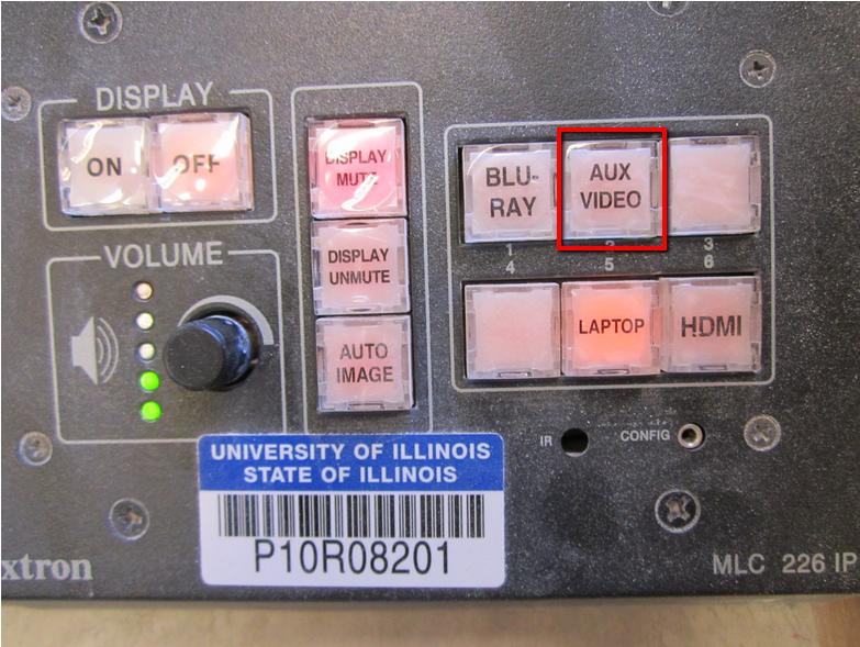 The Aux video button.