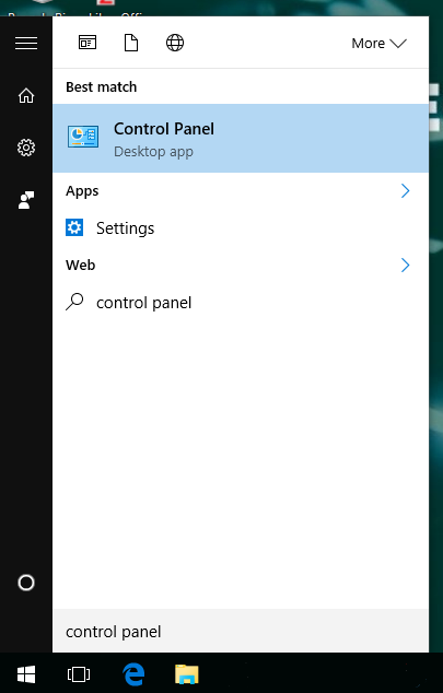 Select Control Panel from the start menu.