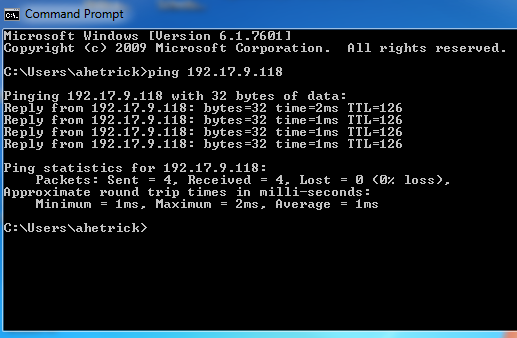 an image of the command prompt with all four packets sent and received.