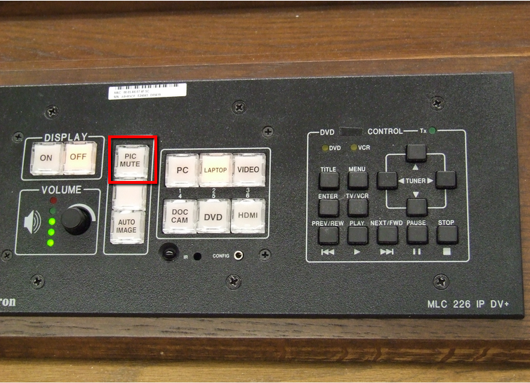 The Pic Mute button is located on the control panel in the center at the top.