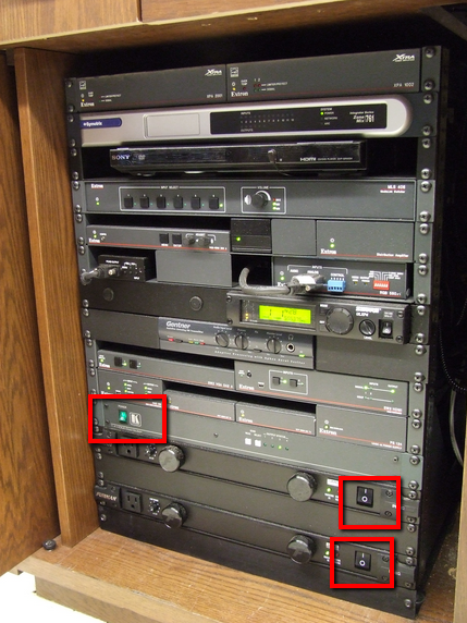 Rack switches image. The rack switches are typically located at the bottom of the AV rack.