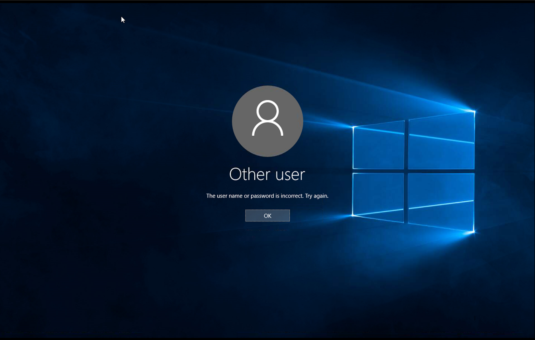 If you see a login screen that says Other User, you've used incorrect credentials.