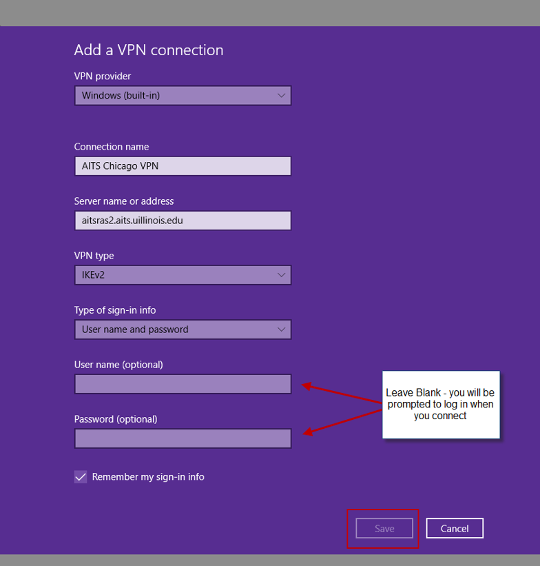 VPN configuration fileds, filled in as listed above