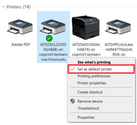 Same control panel window is open. printer ending in 'on cssprint1.techservices.illinois.edu' is highlighted. context menu open and 'set as default printer' circled in red.