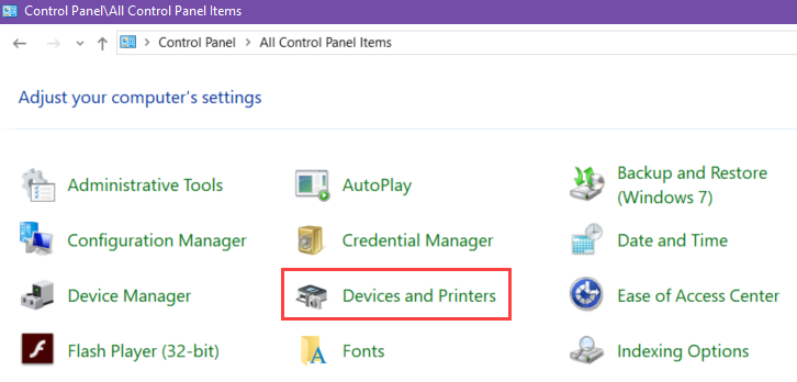 Control panel image with the 'large icons' view displayed. in the second column, third down, 'devices and printers' is circled red.