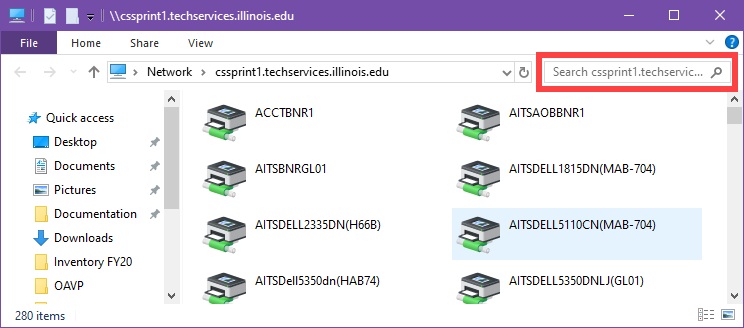 Network Printer list displayed in file explorer window. In the upper right immediately below the help button, a search bar is highlighted in red.
