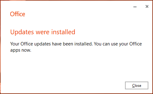 Office advertisement indicating that Updates were installed and you can now use Office applications