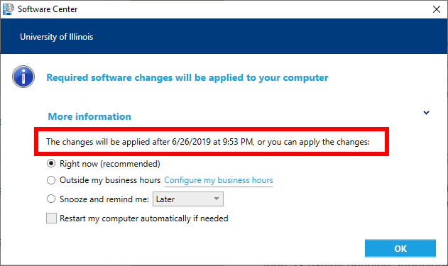 Software Center advertisement with the maintenance window text highlighted