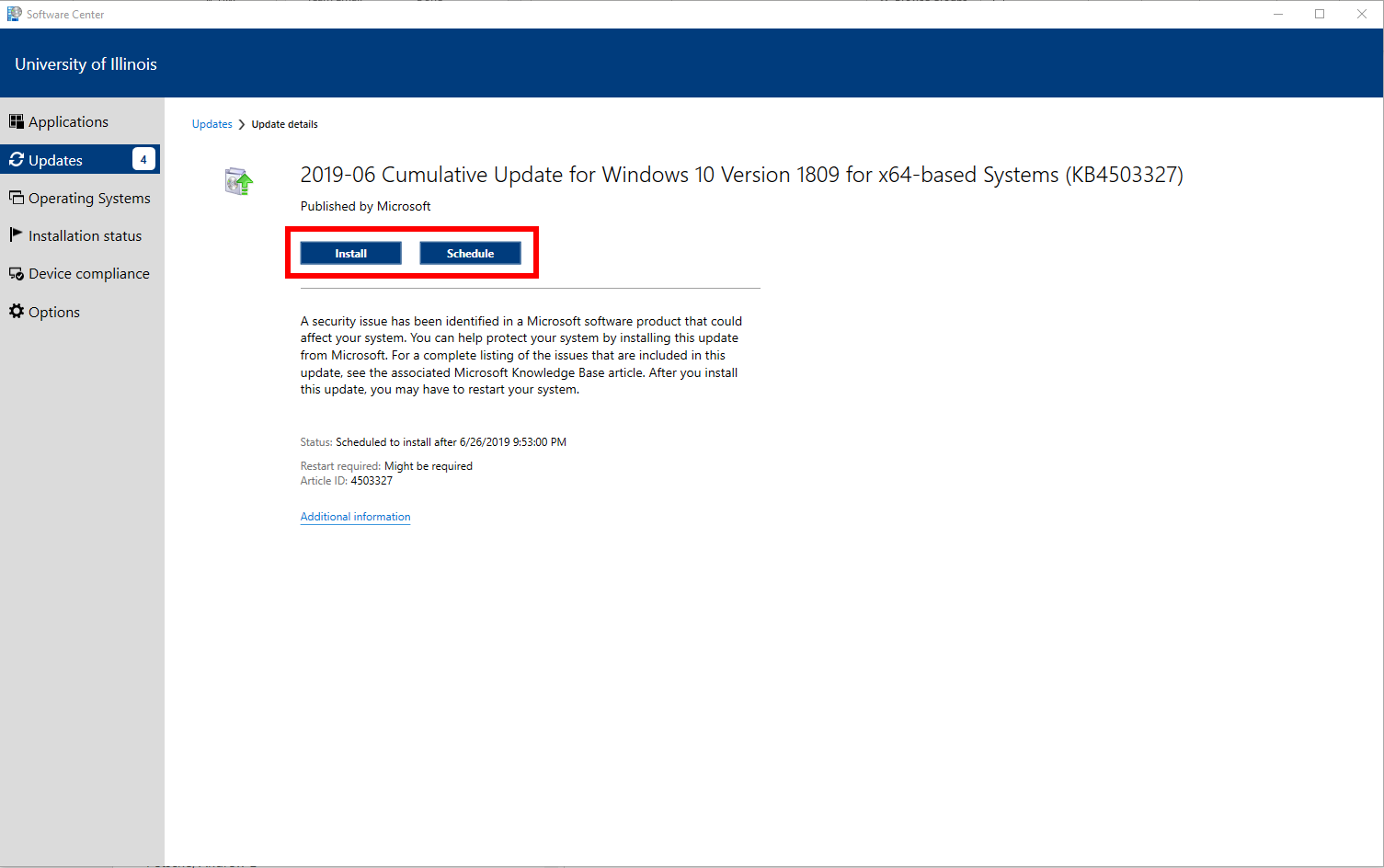 Install and Schedule button are highlighted on the individual update page within Software Center