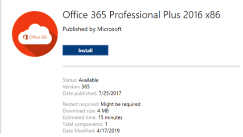 Office 365 install button