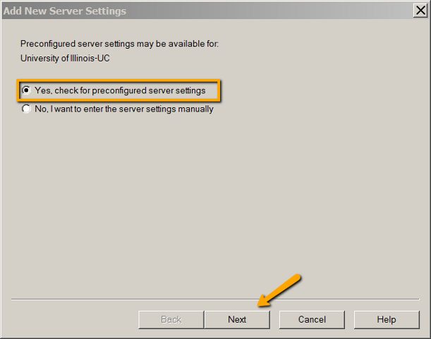 Preconfigured settings