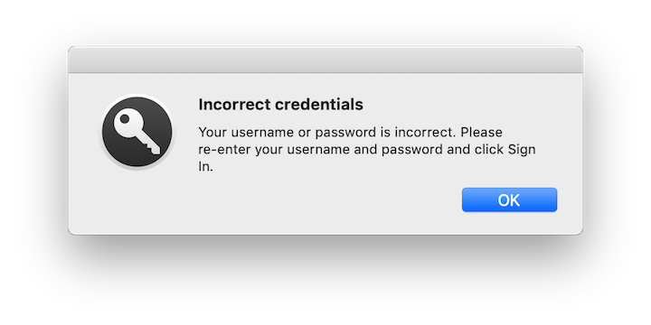 Enterprise Connect Incorrect Credentials