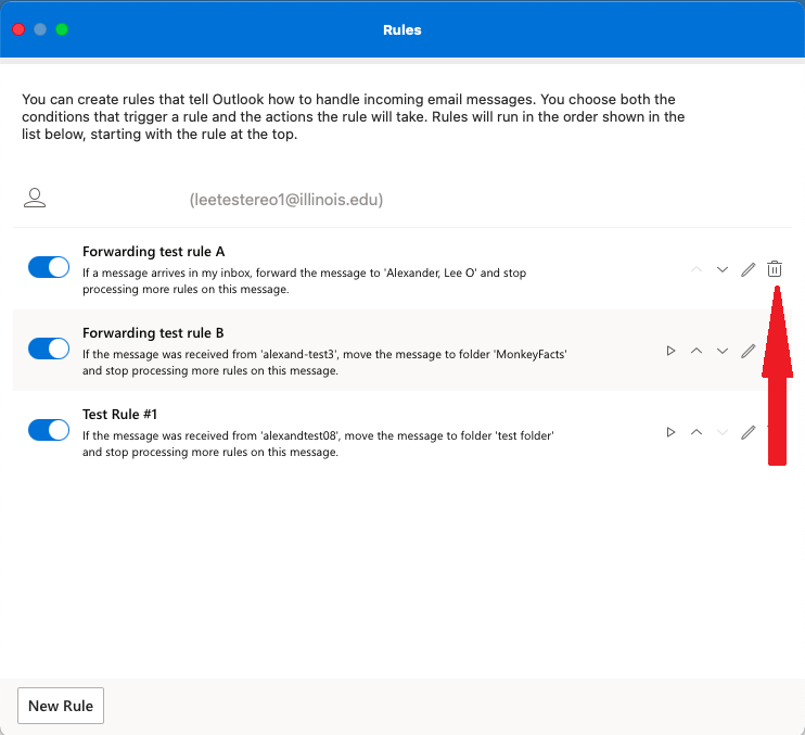 Deleting an inbox rule in Outlook for Mac
