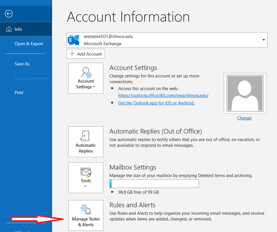 Access rules and alerts in Outlook for Windows
