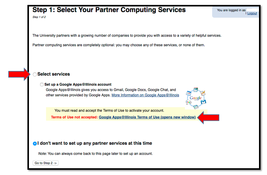 Accept Terms of Use Google Apps