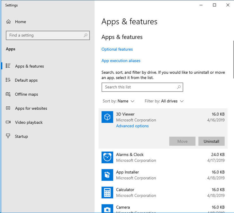 Uninstall Apps and Features Windows 10