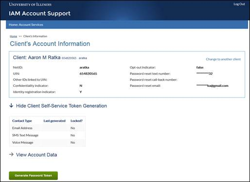 Client account information