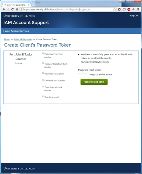 Create client's password token