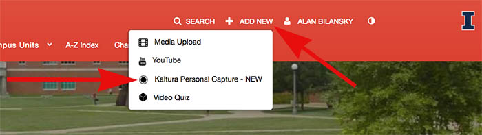 Choose Personal Capture from Add New menu