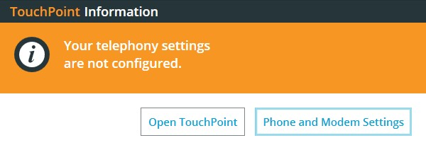 TouchPoint Telephony Settings Error