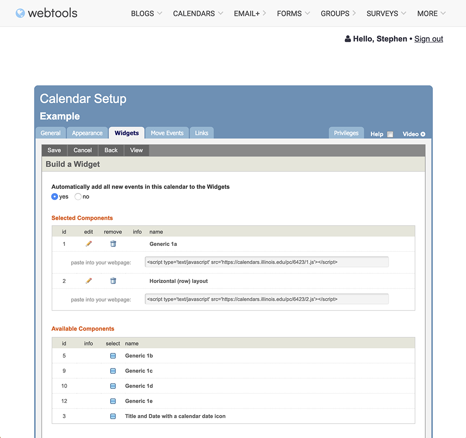 Activated embeddable calendar widgets in WebTools