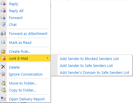 Outlook Webmail - right click Options