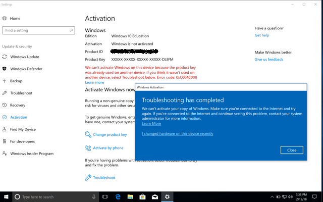 Windows Activation Error