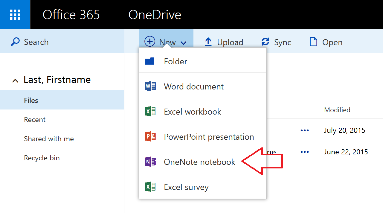Office 365, OneNote Online, How to create a New Notebook
