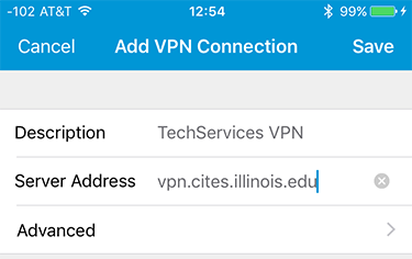 Assign a server name to your VPN profile