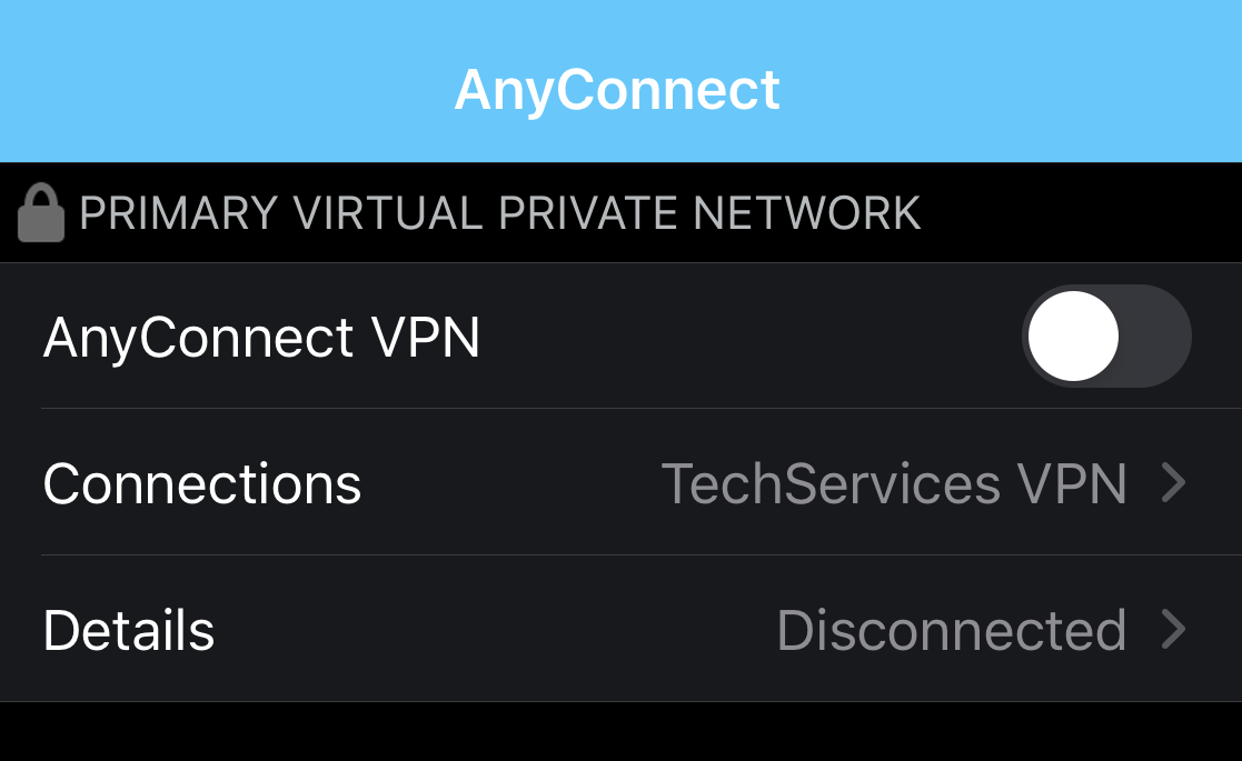 Choose the Tech Services VPN connection from the list