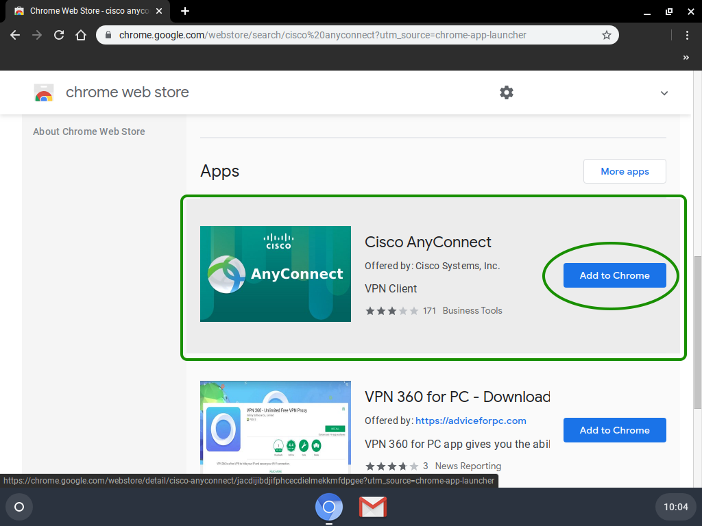 Cisco AnyConnect in app store.