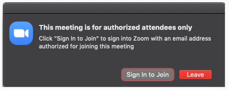Image example of authorized attendees only popup window (MacOS)