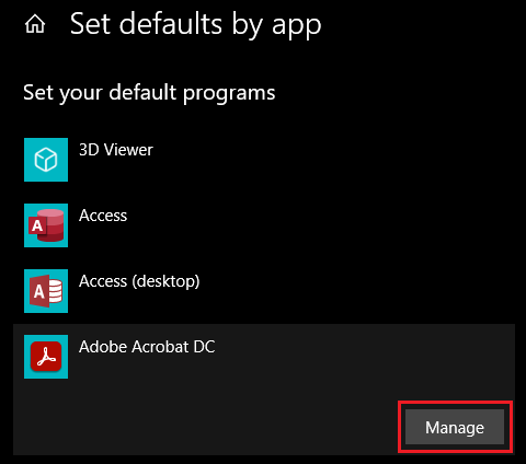 Image of Managing Adobe Acrobat in Set Defaults by App