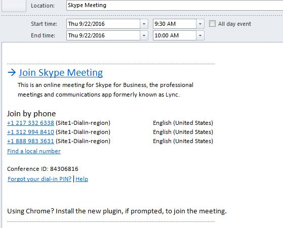 Skype meeting details incl phone number and Conference ID
