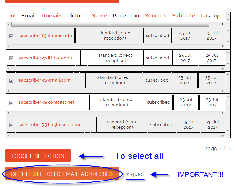 Lists at ACES Toggle Selection button for subscriber management
