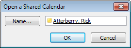 Image of name field to open an Outlook shared calendar