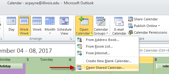 Image of Outlook Open Calendar drop-down button